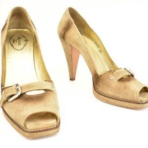 PRADA: Beige, Suede Leather Peep-Toe Heels/Pumps